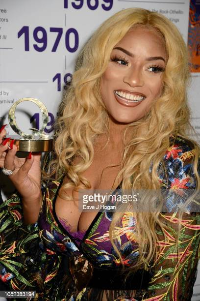 Stefflon Don accepting the Q Best Festival/Event award for 'Spotify Presents Who We Be' poses at the Q Awards 2018 held at The Roundhouse on October...