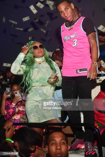 Stefflon Don and Fly Guy DC attend the Million Dollar Bowl at The Dome Miami on February 3, 2020 in Miami, Florida.