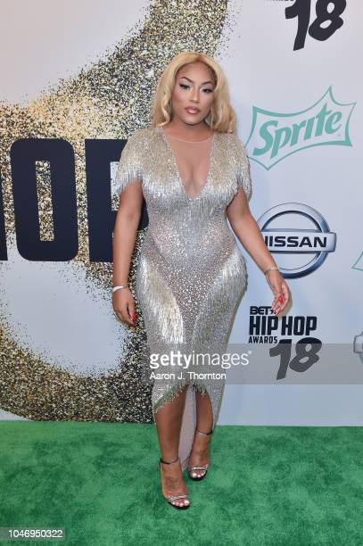 Stefflon Don arrives to the BET Hip Hop Awards at the Fillmore Miami Beach on October 6 2018 in Miami Beach Florida