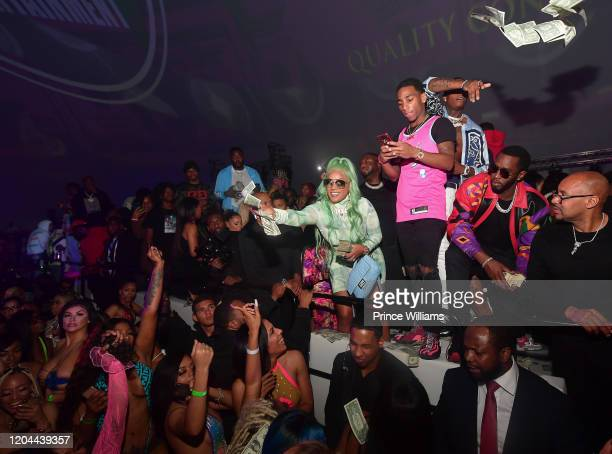 Stefflon Don Fly Guy DC Kollision and Sean Combs attend the Million Dollar Bowl at The Dome Miami on February 3 2020 in Miami Florida