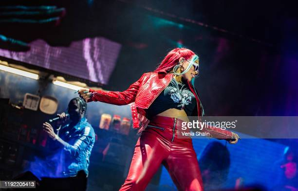 Stefflon Don on stage with Krept & Konan at The O2 Arena on December 5, 2019 in London, England.