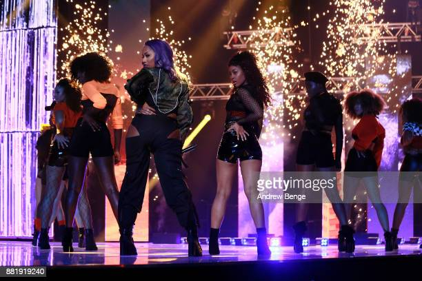 Stefflon Don performs on stage at the MOBO Awards at First Direct Arena Leeds on November 29 2017 in Leeds England