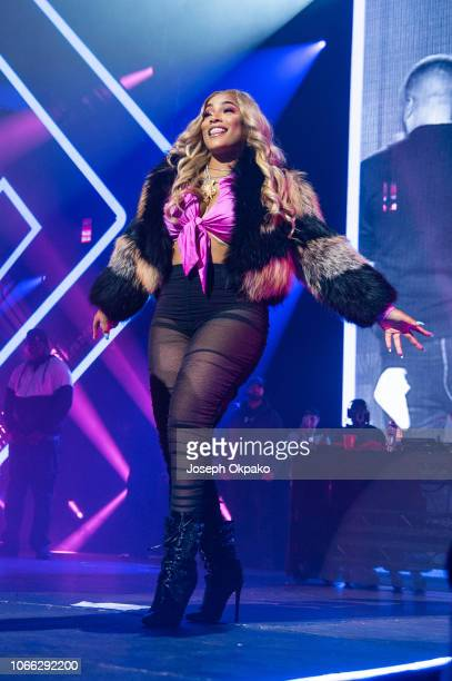 Stefflon Don performs on stage during Spotify Presents Who We Be Live at Alexandra Palace on November 28 2018 in London England
