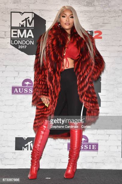 Stefflon Don poses in the Winners Room during the MTV EMAs 2017 held at The SSE Arena Wembley on November 12 2017 in London England