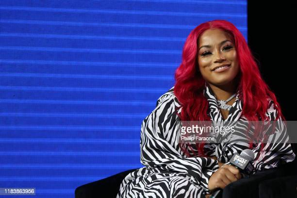 Stefflon Don speaks onstage at the REVOLT X AT&T Host REVOLT Summit In Los Angeles at Magic Box on October 27, 2019 in Los Angeles, California.