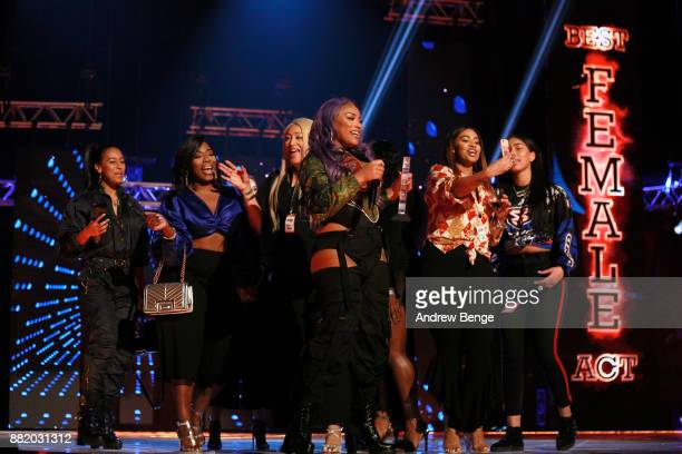 Stefflon Don wins the award for Best Female at the MOBO Awards at First Direct Arena Leeds on November 29 2017 in Leeds England