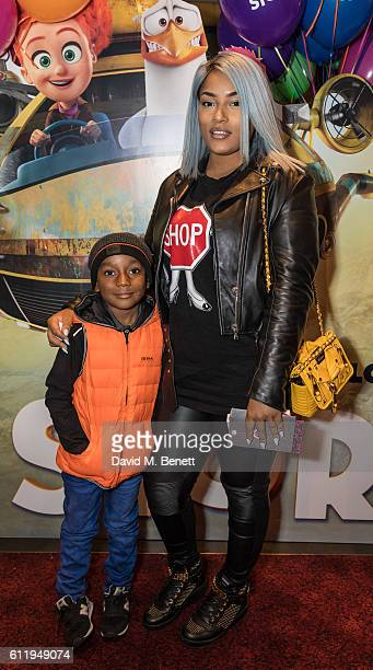 Stefflon Don with son Jaylon attend a multimedia screening of 'Storks' at Cineworld Leicester Square on October 2 2016 in London England