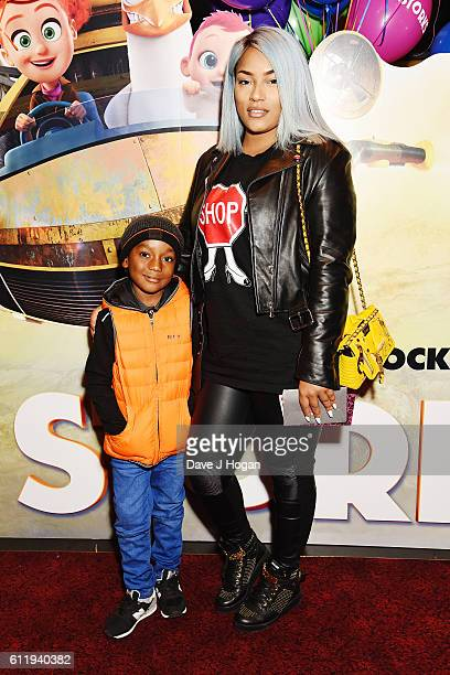 Stefflon Don with son Jaylon attends a multimedia screening of Storks at Cineworld Leicester Square on October 2 2016 in London England