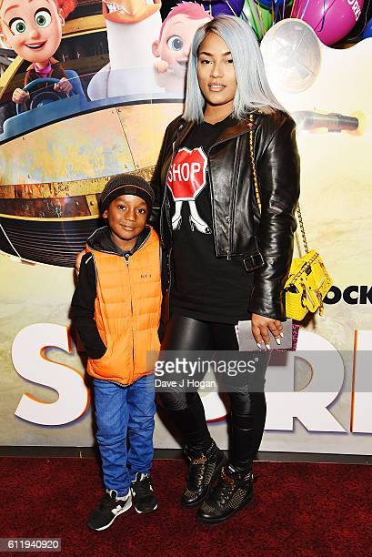 Stefflon Don with son Jaylon attends a multimedia screening of 'Storks' at Cineworld Leicester Square on October 2 2016 in London England