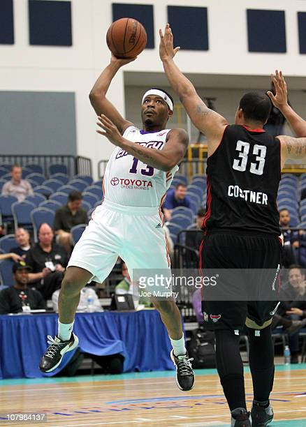 Stefhon Hannah of the Iowa Energy shoots the ball over Brandon Costner of the Utah Flash during the 2011 NBA DLeague Showcase on January 10 2011 at...