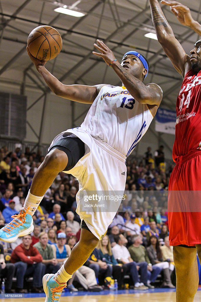 Stefhon Hannah #13 of the Santa Cruz Warriors drives to the basket against Chris Daniels #44 of the Rio Grande Valley Vipers during Game One of the D-League Championship on April 25, 2013 at Kaiser Permanente Arena in Santa Cruz, California.