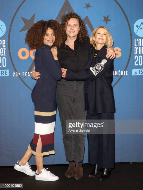 Stefi Celma Alexandre Wetter and Pascale Arbillot attends the closing ceremony of the 23rd L'Alpe D'Huez International Comedy Film festival on...