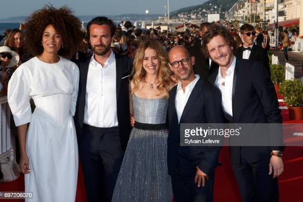 Stefi Celma Amaury de Crayencourt Alice David Maurice Barthelemy and Baptiste Lecaplain attend closing ceremony red carpet of 31st Cabourg Film...