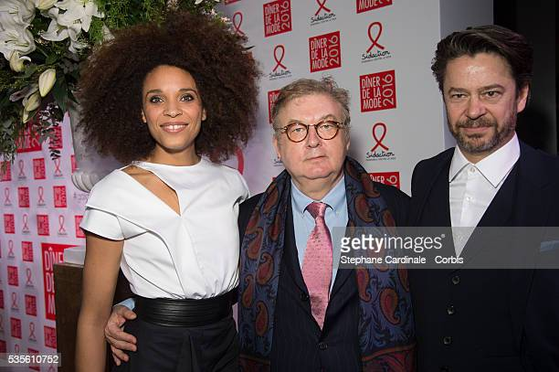 Stefi Celma, Dominique Besnehard and Thibault de Montalembert attend the Sidaction Gala Dinner 2016 as part of Paris Fashion Week on January 28, 2016...