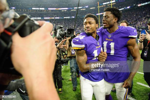 Stefon Diggs and Laquon Treadwell of the Minnesota Vikings react after defeating the New Orleans Saints 2924 in the NFC Divisional Playoff game on...