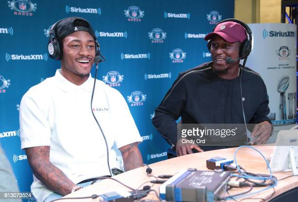 Stefon Diggs and Xavier Rhodes of the Minnesota Vikings attend SiriusXM at Super Bowl LII Radio Row at the Mall of America on February 1 2018 in...