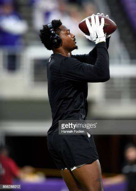 Stefon Diggs catches a ball warming up before the game against the Detroit Lions on October 1 2017 at US Bank Stadium in Minneapolis Minnesota