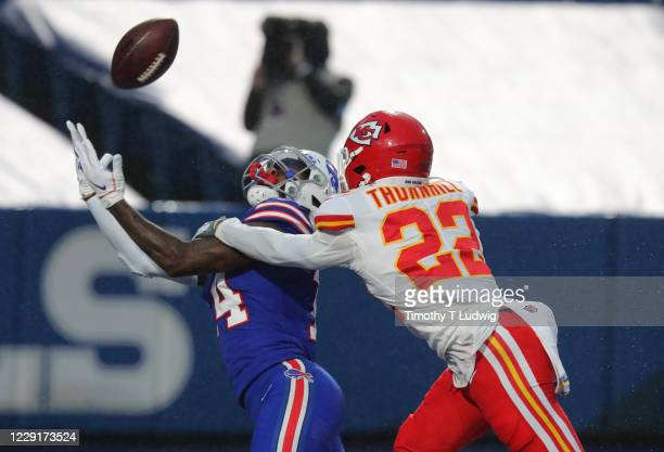 Stefon Diggs of the Buffalo Bills can't come up with the reception against Juan Thornhill of the Kansas City Chiefs during the first half at Bills...