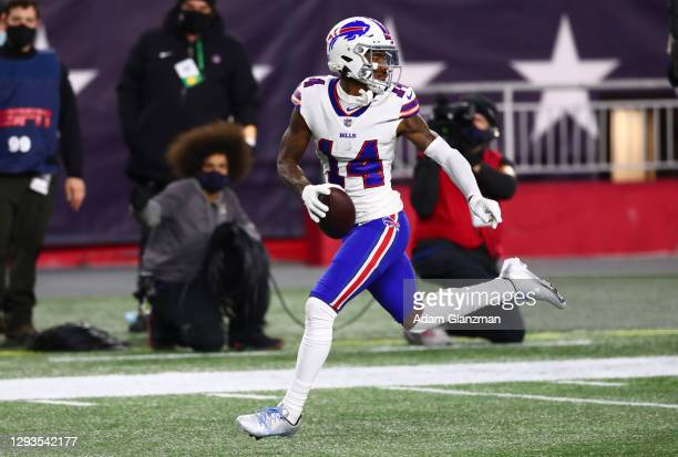 Stefon Diggs of the Buffalo Bills runs the ball into the end zone for a touchdown during the first half against the New England Patriots at Gillette...