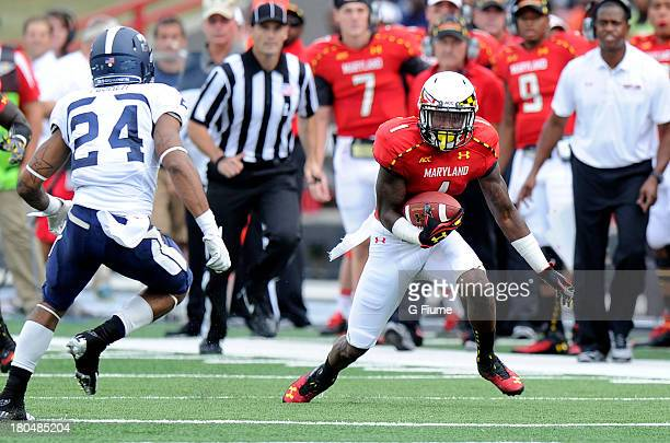 Stefon Diggs of the Maryland Terrapins runs with the ball against the Old Dominion Monarchs at Byrd Stadium on September 7 2013 in College Park...