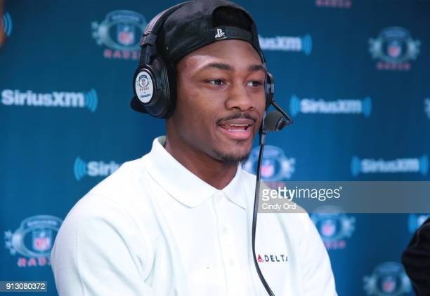 Stefon Diggs of the Minnesota Vikings attends SiriusXM at Super Bowl LII Radio Row at the Mall of America on February 1 2018 in Bloomington Minnesota