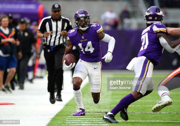 Stefon Diggs of the Minnesota Vikings carries the ball in the first quarter of the game against the Chicago Bears on December 31 2017 at US Bank...