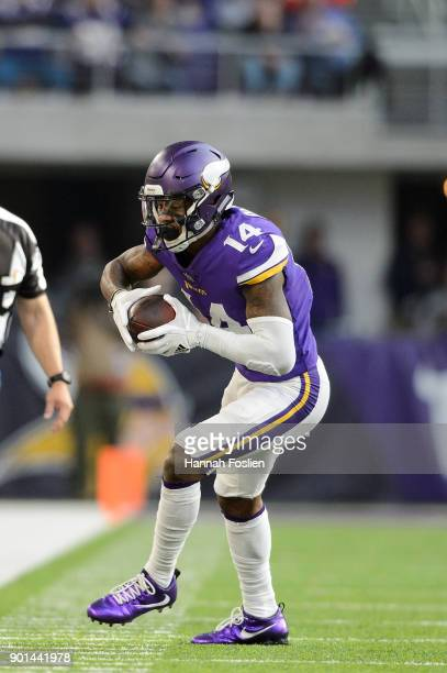 Stefon Diggs of the Minnesota Vikings catches the ball against the Chicago Bears during the game on December 31 2017 at US Bank Stadium in...