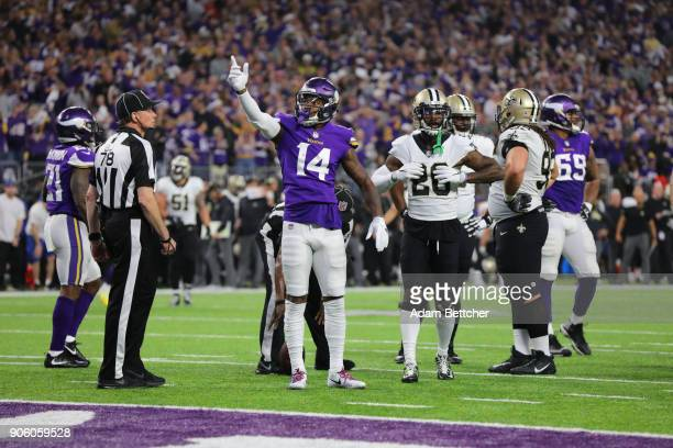 Stefon Diggs of the Minnesota Vikings celebrates a gain during the second quarter of the NFC Divisional Playoff game against the New Orleans Saints...