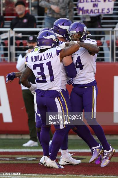 Stefon Diggs of the Minnesota Vikings celebrates after a 41yard touchdown against the San Francisco 49ers in the first quarter of the NFC Divisional...