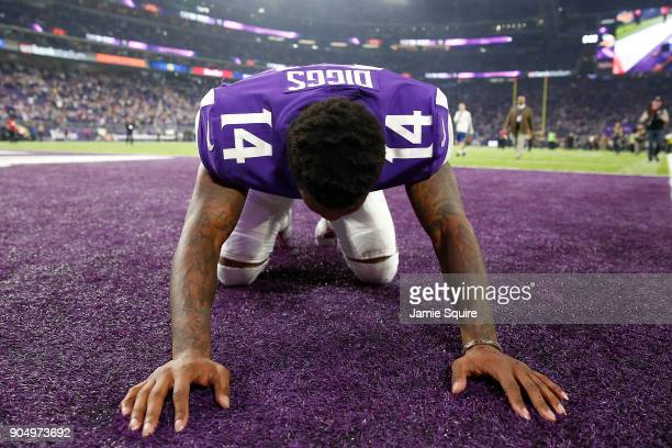 Stefon Diggs of the Minnesota Vikings celebrates after defeating the New Orleans Saints in the NFC Divisional Playoff game at US Bank Stadium on...