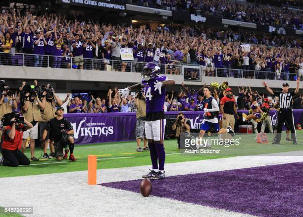 Stefon Diggs of the Minnesota Vikings celebrates after scoring a touchdown in the first half of the game against the New Orleans Saints on September...