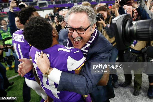 Stefon Diggs of the Minnesota Vikings celebrates with owner Zygi Wilf after defeating the New Orleans Saints in the NFC Divisional Playoff game at US...