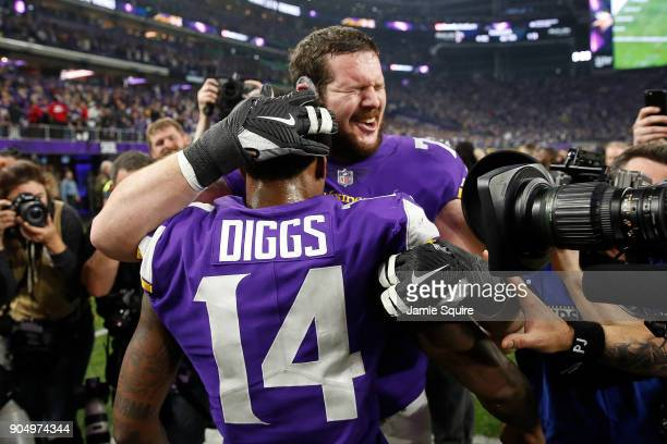 Stefon Diggs of the Minnesota Vikings celebrates with teammates after defeating the New Orleans Saints in the NFC Divisional Playoff game at US Bank...