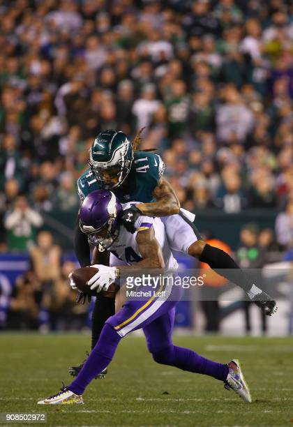 Stefon Diggs of the Minnesota Vikings is tackled by Ronald Darby of the Philadelphia Eagles during the first quarter in the NFC Championship game at...