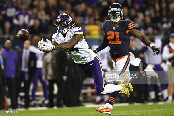 Stefon Diggs of the Minnesota Vikings is unable to catch a pass during the first half against the Chicago Bears at Soldier Field on October 31 2016...