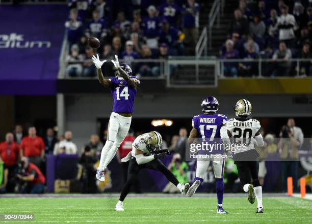 Stefon Diggs of the Minnesota Vikings leaps to catch the ball in the fourth quarter of the NFC Divisional Playoff game against the New Orleans Saints...