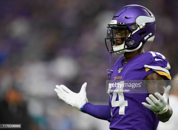 Stefon Diggs of the Minnesota Vikings looks on before the game against the Oakland Raiders at US Bank Stadium on September 22 2019 in Minneapolis...