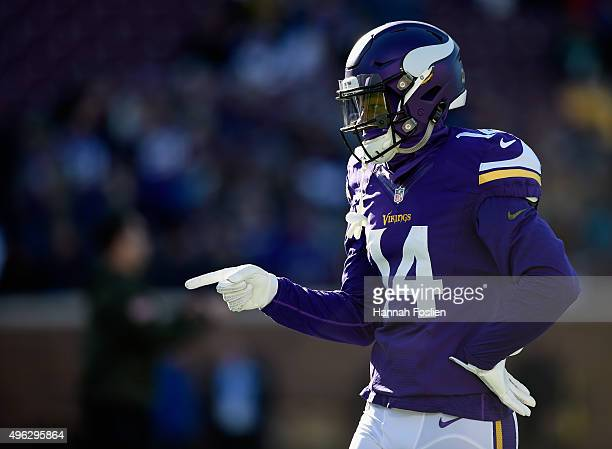 Stefon Diggs of the Minnesota Vikings looks on before the game against the St Louis Rams on November 8 2015 at TCF Bank Stadium in Minneapolis...