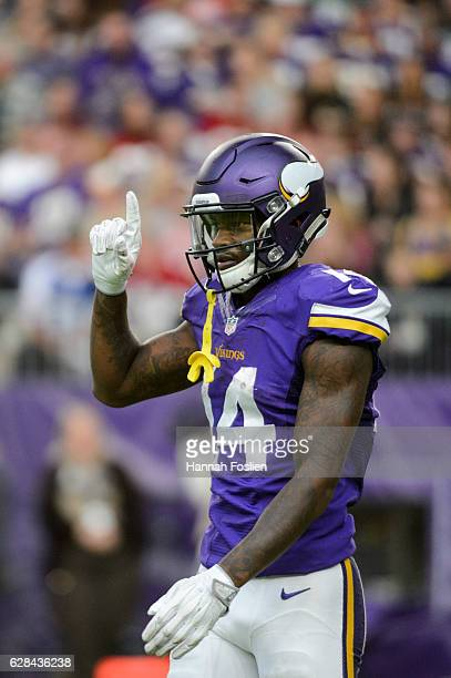 Stefon Diggs of the Minnesota Vikings looks on during the game against the Arizona Cardinals on November 20 2016 at US Bank Stadium in Minneapolis...