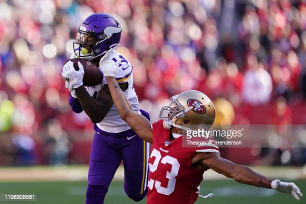 Stefon Diggs of the Minnesota Vikings makes a catch for a 41yard touchdown against the San Francisco 49ers in the first quarter of the NFC Divisional...