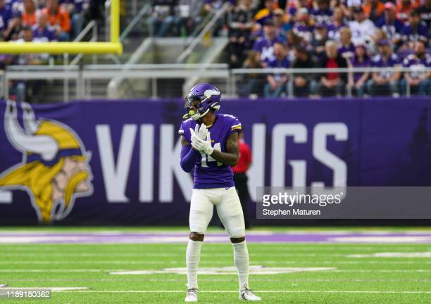 Stefon Diggs of the Minnesota Vikings on the field in the first quarter of the game against the Denver Broncos at US Bank Stadium on November 17 2019...