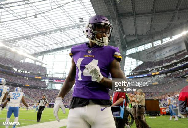Stefon Diggs of the Minnesota Vikings on the sideline after a first down catch in the second half of the game against the Detroit Lions on October 1...