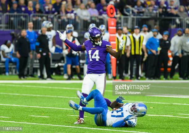 Stefon Diggs of the Minnesota Vikings reacts after a play in the third quarter of the game against the Detroit Lions at US Bank Stadium on December 8...