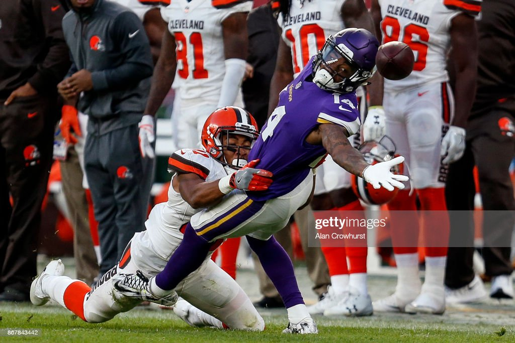 Stefon Diggs #14 of the Minnesota Vikings receives the pass during the NFL International Series match between Minnesota Vikings and Cleveland Browns at Twickenham Stadium on October 29, 2017 in London, England.