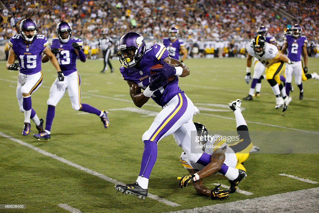 Stefon Diggs #14 of the Minnesota Vikings returns a punt 62 yards to set up a touchdown against the Pittsburgh Steelers in the third quarter of the NFL Hall of Fame Game at Tom Benson Hall of Fame Stadium on August 9, 2015 in Canton, Ohio.