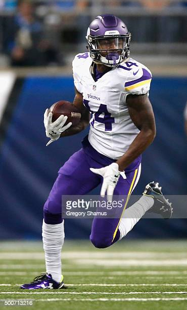 Stefon Diggs of the Minnesota Vikings runs the ball up field while playing the Detroit Lions at Ford Field on October 25 2015 in Detroit Michigan...