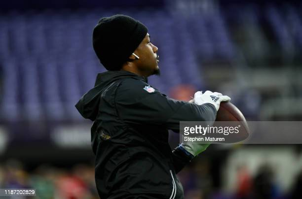 Stefon Diggs of the Minnesota Vikings warms up before the game against the Detroit Lions at US Bank Stadium on December 8 2019 in Minneapolis...