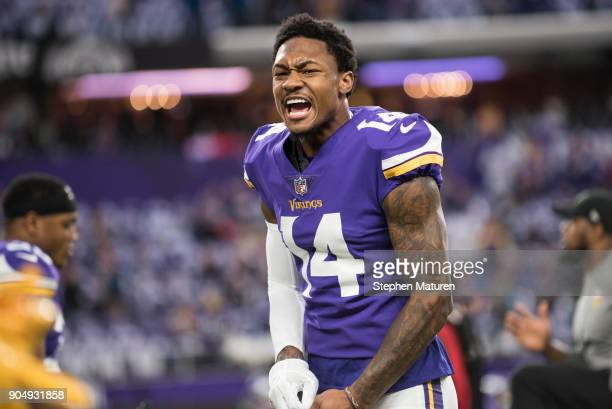 Stefon Diggs of the Minnesota Vikings warms up before the NFC Divisional Playoff game against the New Orleans Saints on January 14 2018 at US Bank...