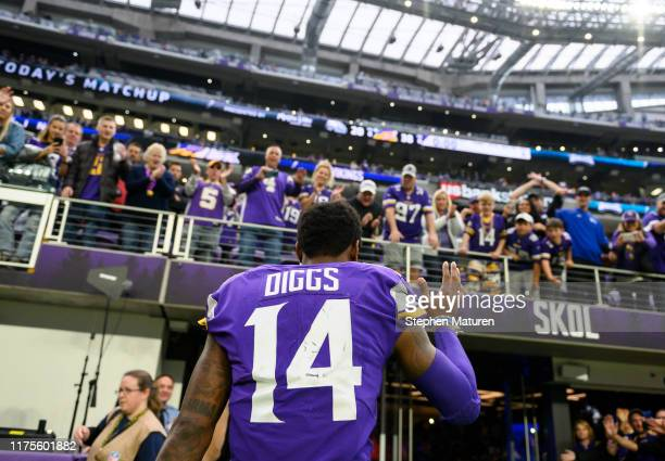 Stefon Diggs of the Minnesota Vikings waves to fans after the game against the Philadelphia Eagles at US Bank Stadium on October 13 2019 in...