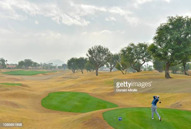 Stehan Jaeger of the United States tees off during the first round of the Desert Classic at the Stadium Course on January 17 2019 in La Quinta...